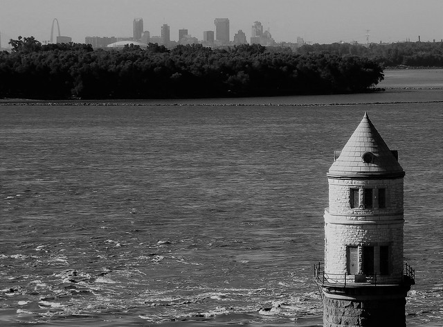 View from Old Chain of Rocks Bridge - Route 66  - Mississippi River -St. Louis -  B&W