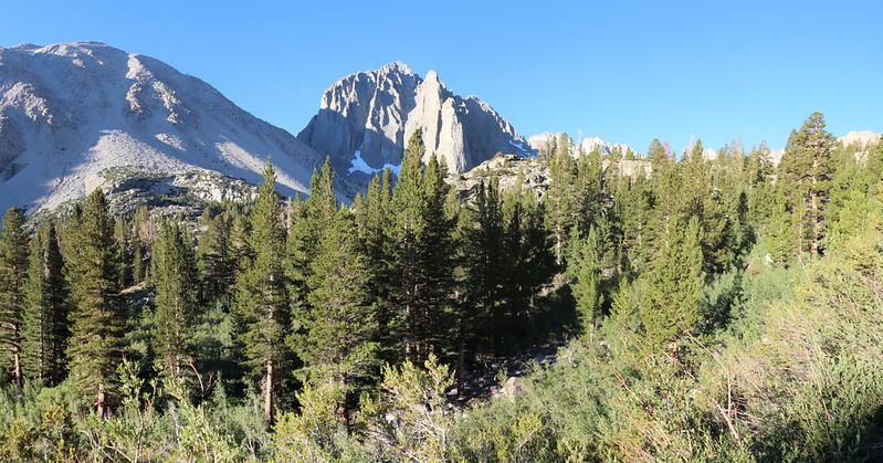 Looking back up-canyon toward Temple Crag on the NF Big Pine Creek Trail