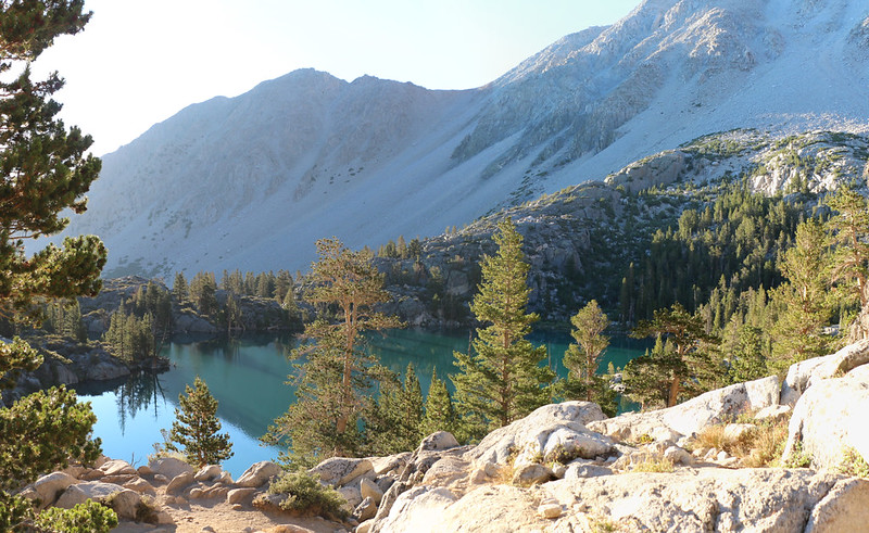 First Lake and Mount Alice from the NF Big Pine Creek Trail in the morning light