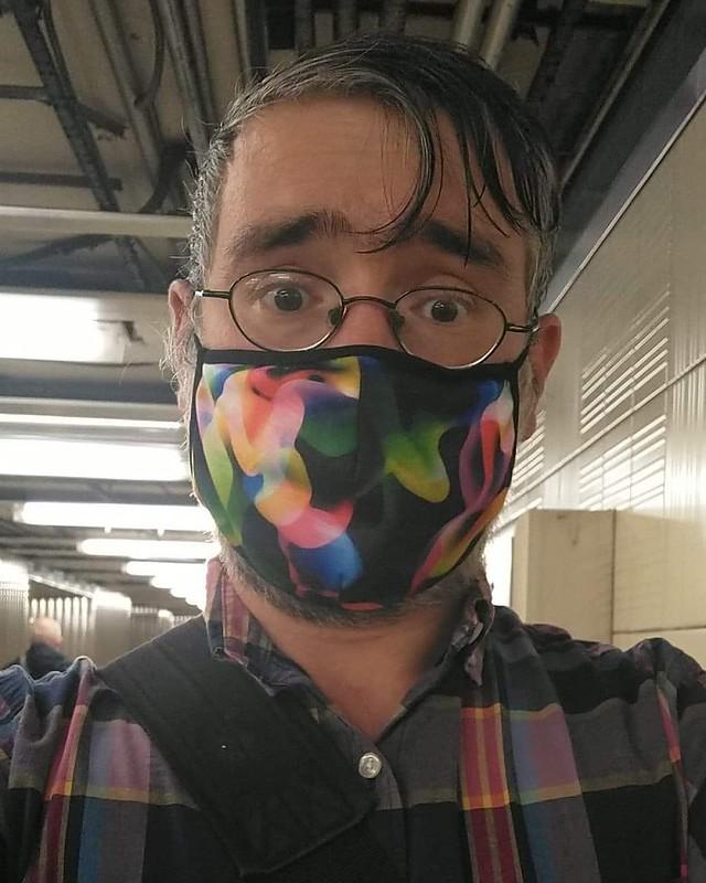 Bloor-Yonge selfie #toronto #blooryonge #me #selfie #rainbowvapor #plaid #facemask