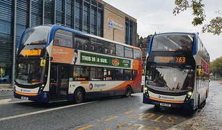 Stagecoach Enviro 400MMC SN16 OXP and SN16 OYK(left) seen in Newcastle together