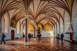 Malbork Castle: interior architecture, murals and elaborate ceilings within the castle, Malbork, Poland.  089-Edita