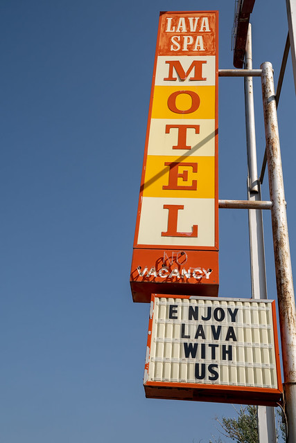 Lava Hot Springs, Idaho - September 21, 2020: Old retro neon sign for the Lava Spa Motel, in the downtown area