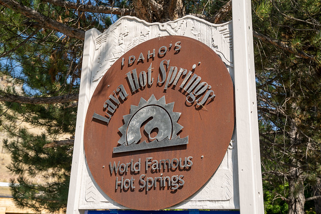 Lava Hot Springs, Idaho - September 21, 2020: Welcome sign for the town of Lava Hot Springs, known for its healing mineral waters in the city