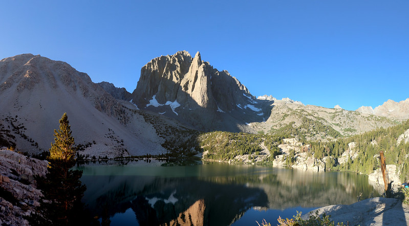 Panorama shot of Temple Crag as the sun rises over Second Lake on the NF Big Pine Creek Trail