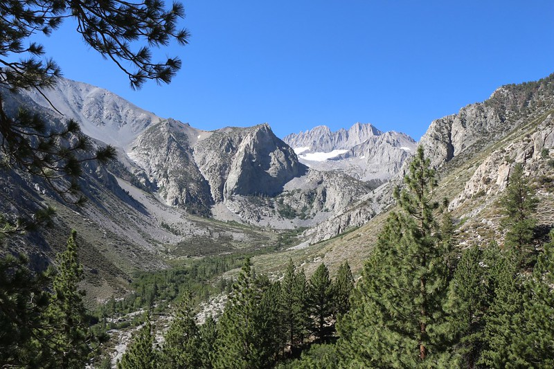 View up the South Fork of Big Pine Creek at the Clyde Glacier, Middle Palisade, and Norman Clyde Peak