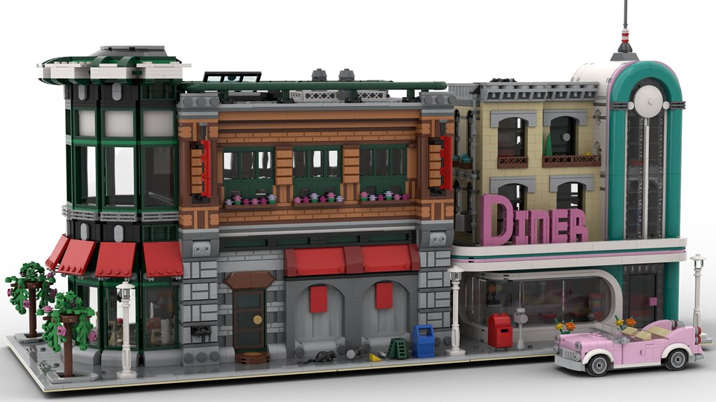 Lego Downtown Diner and Concession Corner MOC