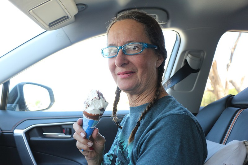 Happy Vicki eating an ice cream cone after hiking all the way back to the car on the NF Big Pine Creek Trail