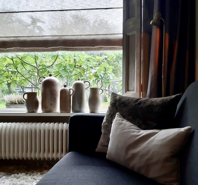 Transparant vouwgordijn kruiken vensterbank landelijke stijl