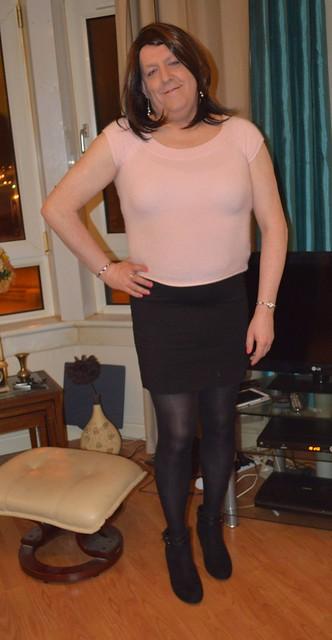 Pink angora and black opaque