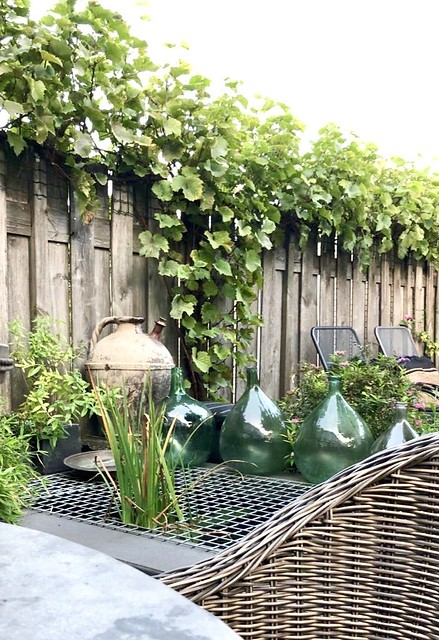 Groene glazen flessen vijver landelijke tuin