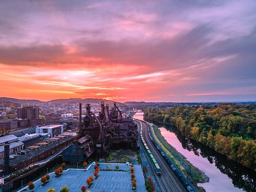 aerial drone autumn river urbanexploration landscape steelplant steelmill industrial sunset
