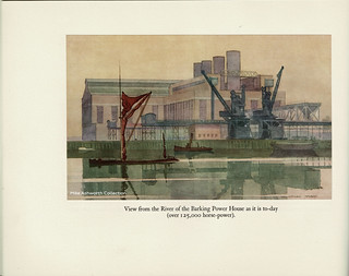 County of London Electric Supply Company - opening of the new power house at Creekmouth, Barking, by HM King George V, 19 May 1925 - view from river by Norman Howard.