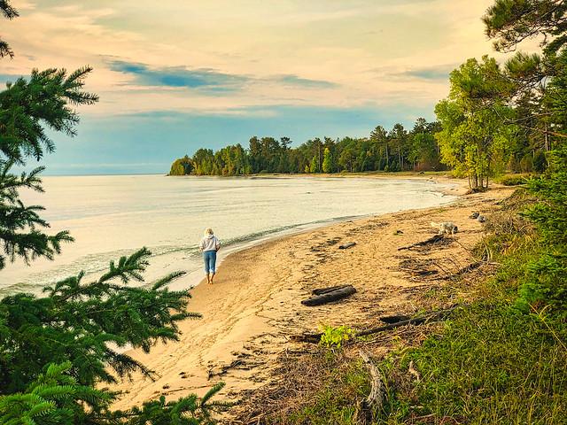 Lake Michigan:  Morning Dog Walk