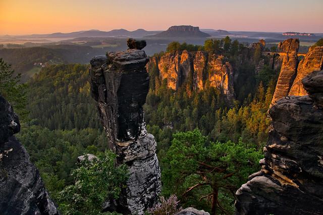 Wehlnadel and Bastei at sunrise