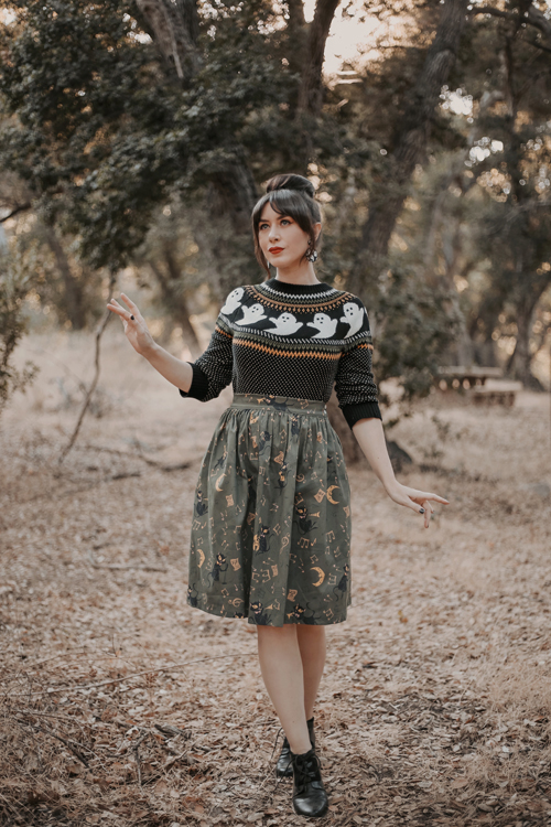 Modcloth However It Ghosts Fair Isle Sweater Kitschy Witch Designs Midnight Jamboree Gillian Skirt