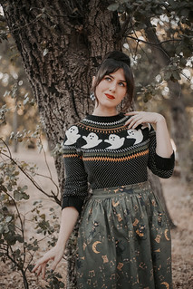 Modcloth However It Ghosts Fair Isle Sweater Kitschy Witch Designs Midnight Jamboree Gillian Skirt | by AshleyBelle12