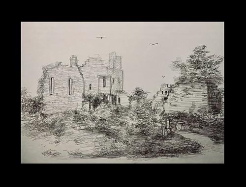 Pencil sketch of Hawarden Castle. North Wales. Drawing by jmsw.
