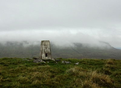 Pen-y-ghent in the mist, from the trig above Cosh Outside