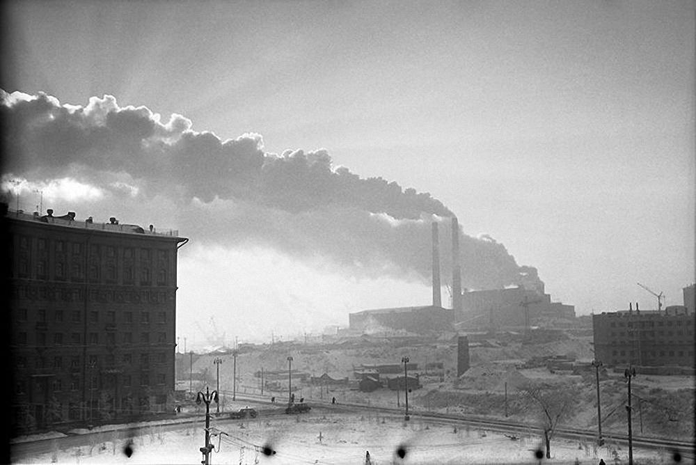 1959. Морозное утро. Индустриальный пейзаж
