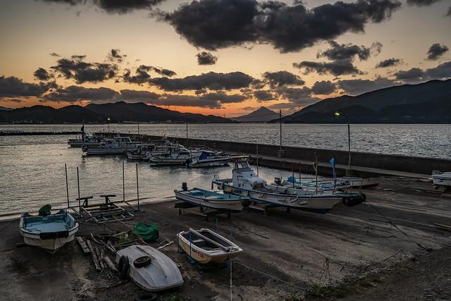 Small fishing port at dusk