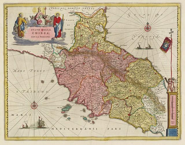 Joan Blaeu (1596-1673) - Stato Della Chiesa Con La Toscana (1665)