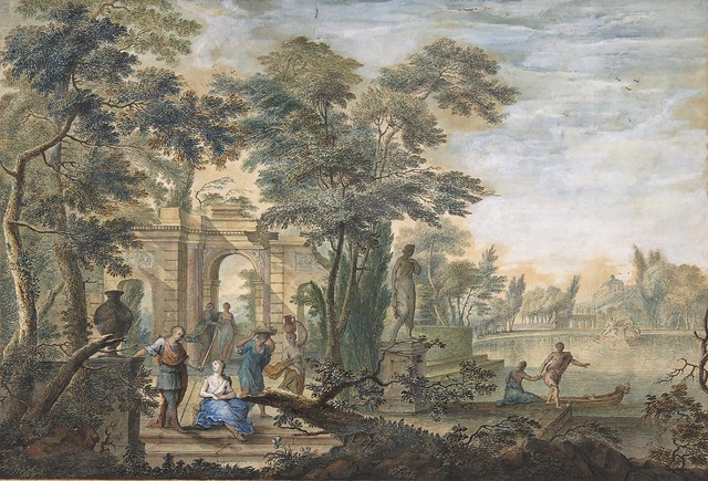 Gerard Melder (1693-1754) - Arcadian Landscape with several Figures and a Statue of Diana