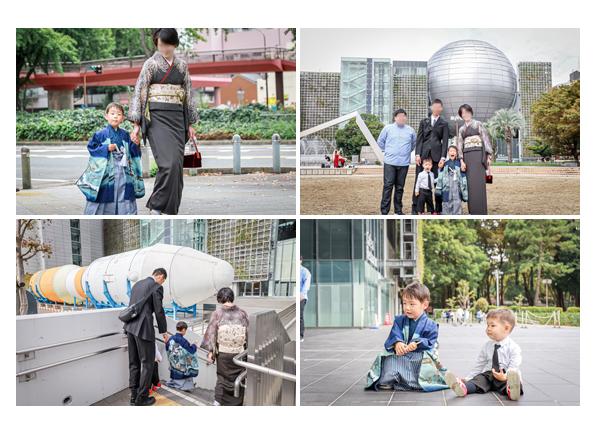 若宮八幡社へ七五三詣りの後、名古屋市科学館へお散歩 記念写真
