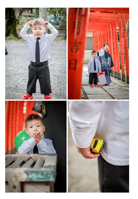 七五三 兄弟写真 衣装 羽織袴のお兄ちゃん、白シャツにネクタイの弟君