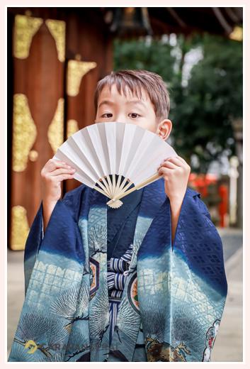 若宮八幡社で七五三 5才の男の子 衣装はブルーの羽織袴