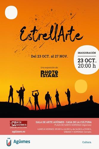 """Cartel promocional de la exposición """"EstrellArte"""", del Grupo Photostars, en la Sala de Arte Agüimes"""