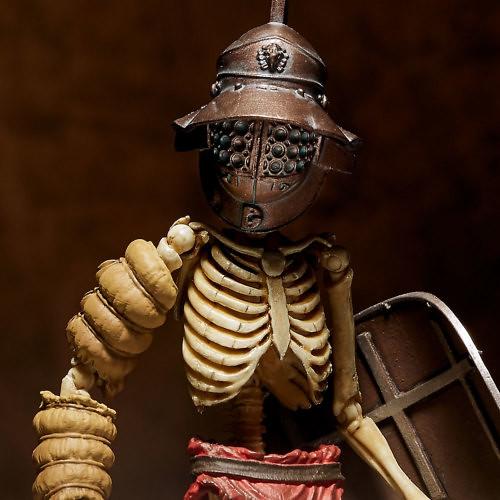 海洋堂 TAKEYA 式自在置物「古羅馬骸骨劍士」系列【魚兜闘士】全彩版/蓄光版 可動人偶