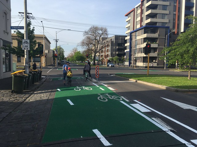 New protected bike lane on Canning Street northbound at intersection with Elgin Street, Carlton