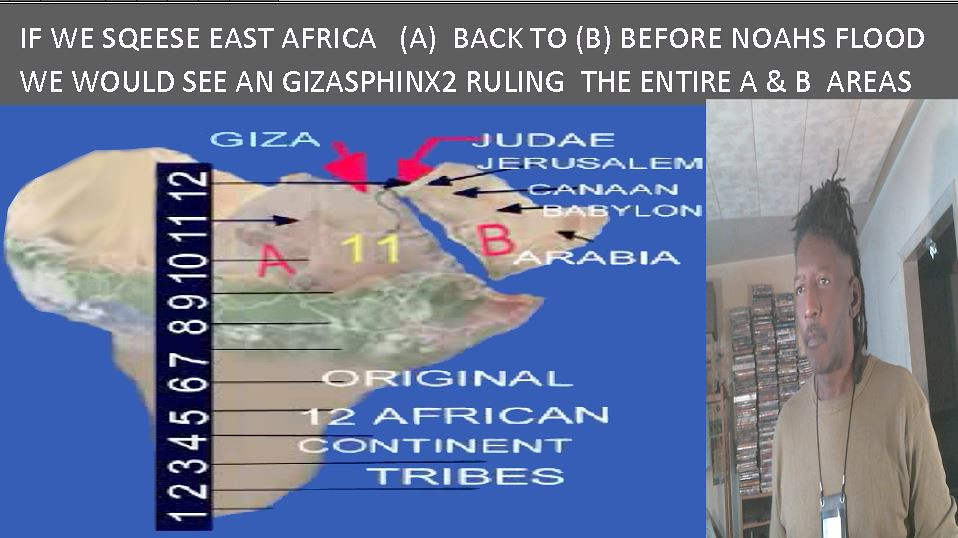 IF WE SQEESE EAST AFRICA   (A)  BACK TO (B) BEFORE NOAHS FLOOD WE WOULD SEE AN GIZA SPHINX2 RULING  THE ENTIRE A & B  AREAS
