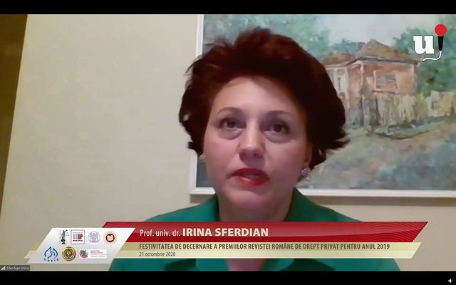 """Festivitatea de decernare a premiilor """"Revistei Române de Drept Privat"""" pentru anul 2019"""