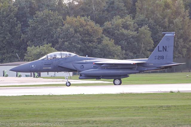 97-0218 - 1997 fiscal McDonnell Douglas F-15E Strike Eagle, arriving back at Lakenheath from deployment in Jordan, now named El Chapo