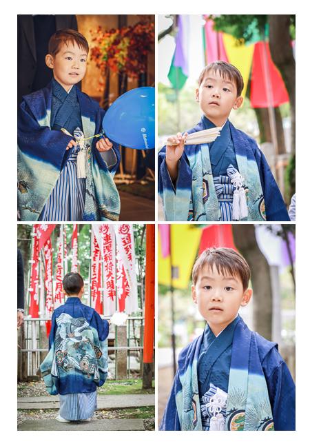 七五三 5才の男の子 ブルーの羽織袴
