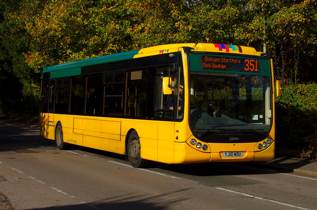 Yellow Autumn: Trustybus (ex Yellow Buses 106) Optare Tempo X1200 YJ10MDU Hadham Road Bishops Stortford 22/10/20