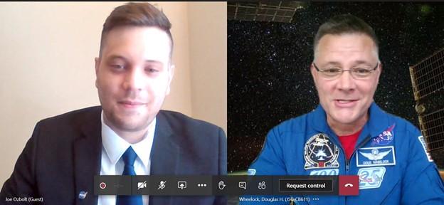"""Joe Ozbolt and NASA Astronaut Doug """"Wheels"""" Wheelock"""