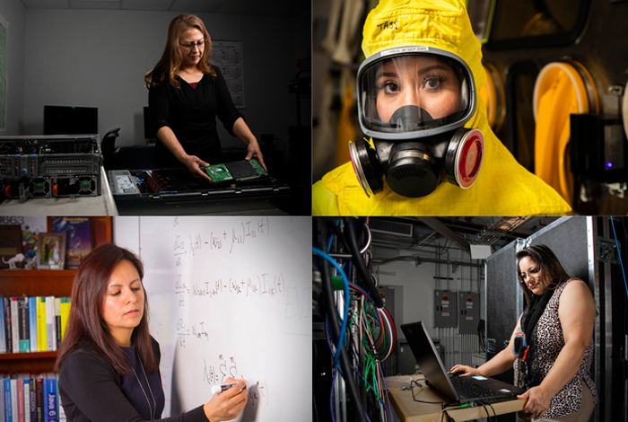 From top left: Elaine Martinez, logistics maintenance; Crystal Alarid, safe-deployed security; Sara Del Valle, information systems and modeling; and Elaine Cordova, classified systems service, work at Los Alamos National Laboratory. Forty-five percent of the Lab's female workforce is Latina.