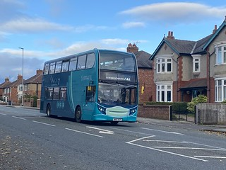 Arriva North East masked Sapphire E400 7534 seen here making its was down north road heading towards Darlington whilst operating the Decker board on the X21