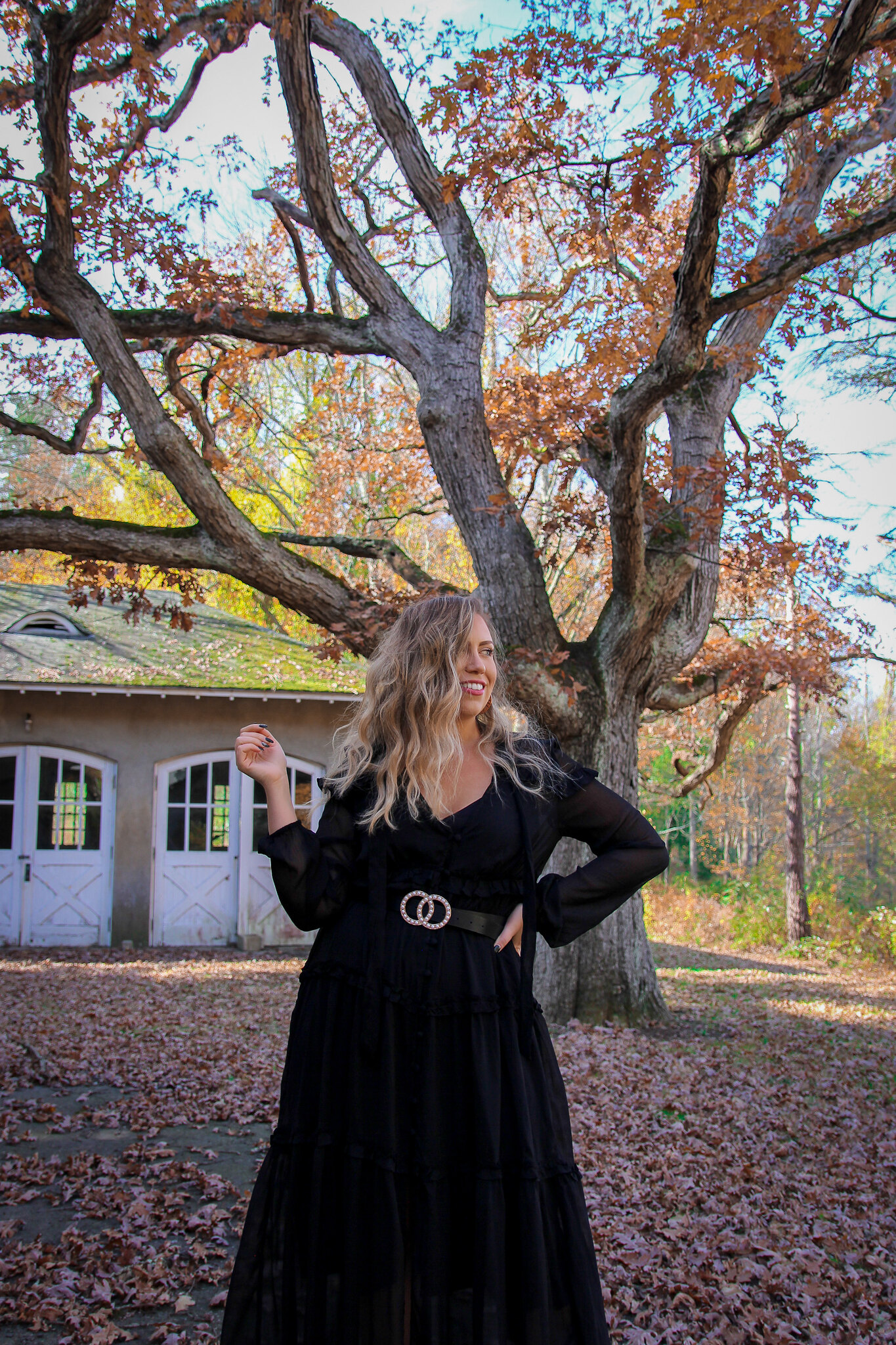 Long Black Sheer Dress Fall Photoshoot in New York | Long Blonde Wavy Hair | Fall Foliage | Westchester County NY Merestead