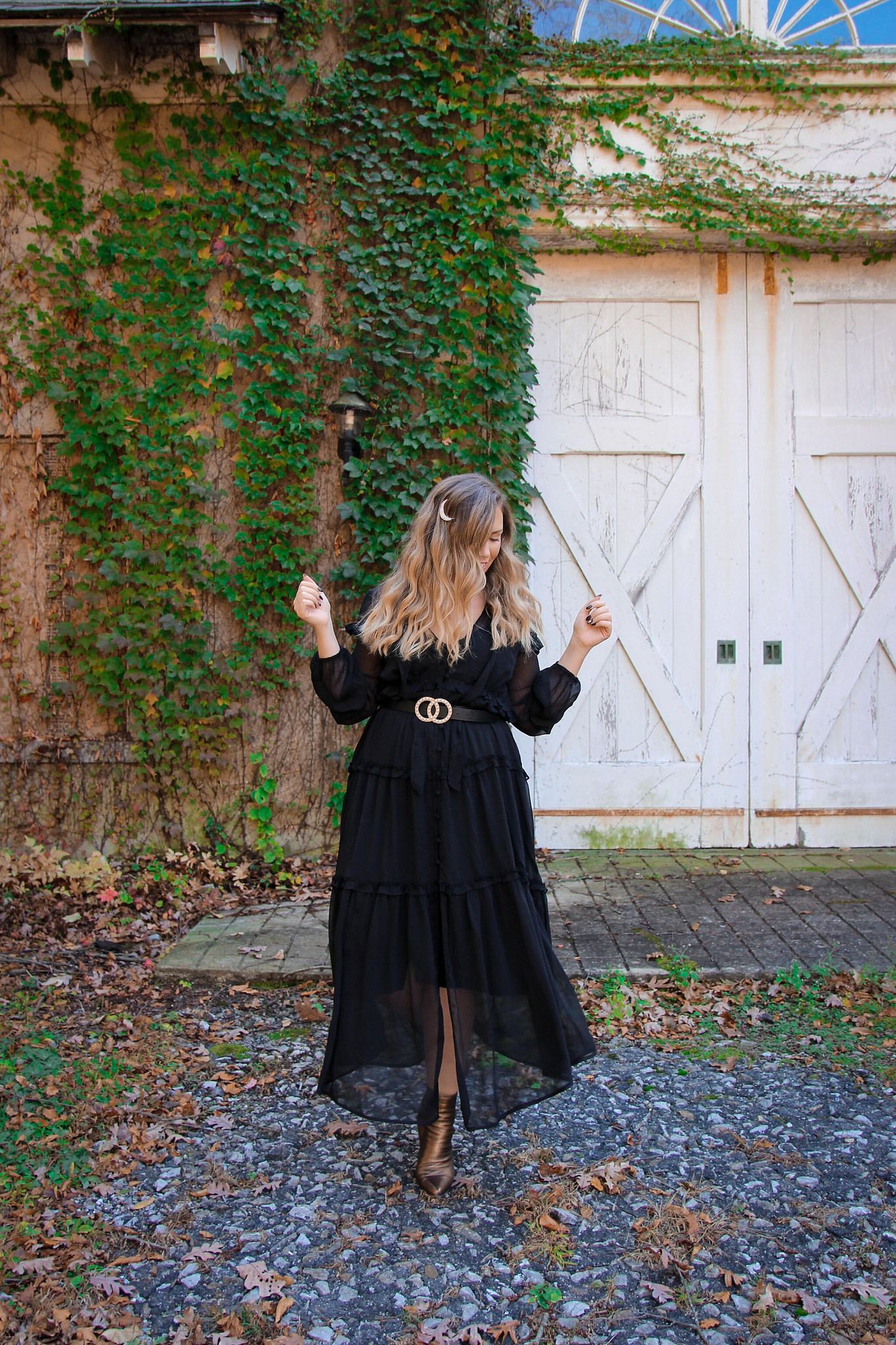 Long Black Sheer Dress Fall Photoshoot in New York | Long Blonde Wavy Hair Moon Hair Pin | Fall Foliage | Westchester County NY Merestead