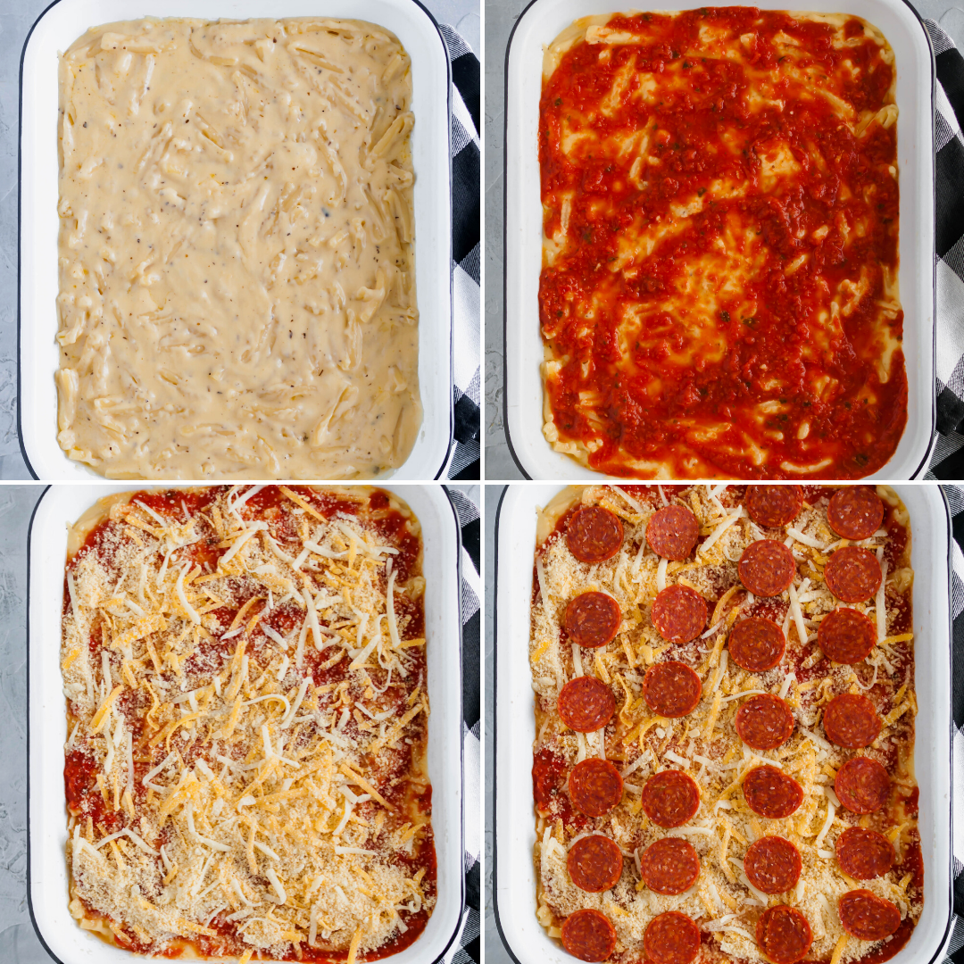 Two American favorites combine to make the most glorious Pizza Macaroni and Cheese. Creamy, cheesy pasta topped with pizza sauce, pepperoni and more cheese. Customize it and use your favorite toppings.