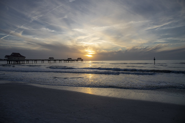 Sunset at  Clearwater beach over Pier