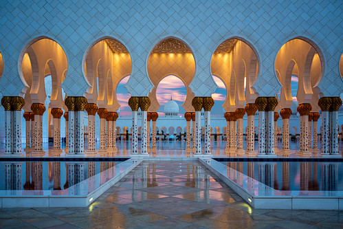 mosque abu dhabi emirates religion architecture united arab sunset columns water pool archs culture east famous building outdoors tourism variotessartfe41635 sony long exposure urban cityscape zeiss a7 34mm