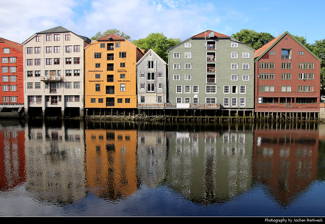 Old warehouses along Nidelva river, Trondheim, Norway