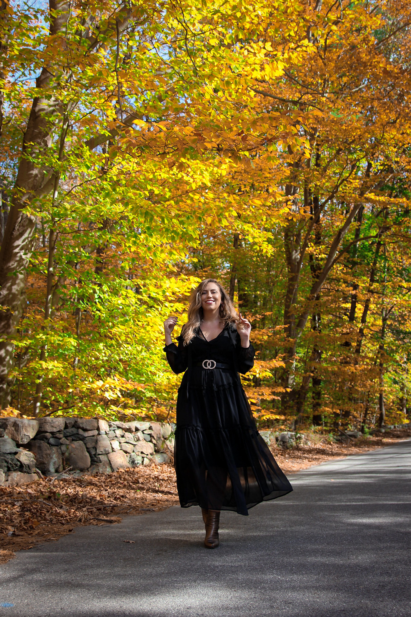 Witchy Black Dress Fall Photoshoot in New York | Fall Foliage | Westchester County NY Merestead