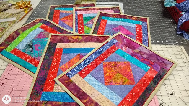 Six finished placemats