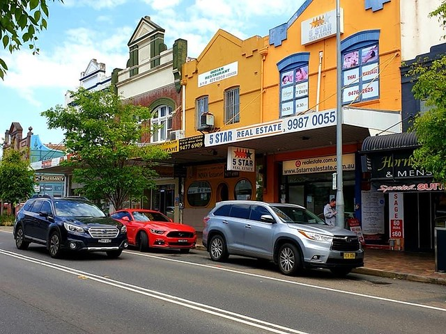 Hornsby, a Northern Sydney suburb and an out door market outside the Westfield Shopping Centre on Thursdays. It retains a village atmosphere.